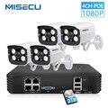 MISECU Full HD 1080P 4 Canali del Sistema CCTV 4pcs 2MP Metallo Macchina Fotografica del IP Esterna 4CH 1080P POE NVR CCTV Kit HDMI P2P-Mail di Allarme xmeye