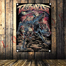 Vintage Rock and Roll Band Poster Popular Heavy Metal Music Flag Banner Hanging Painting Sticker Studio Bedroom Wall Decoration(China)