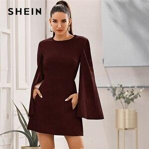 Image 5 - SHEIN rękaw dzwonek kieszeń boczna sukienka bez paska kobiety jesień solidna O neck krótkie dopasowane eleganckie sukienki Highstreet