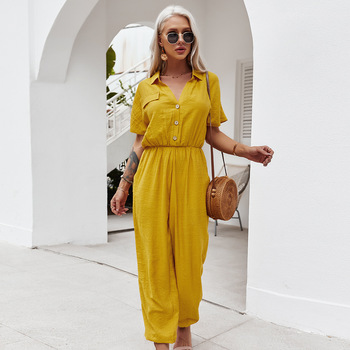 Women Playsuit 2021 Fashion Lapel Jumpsuits Casual Solid Pockets Rompers Short Sleeve Belted Buttons Trousers Playsuits Mujer 1