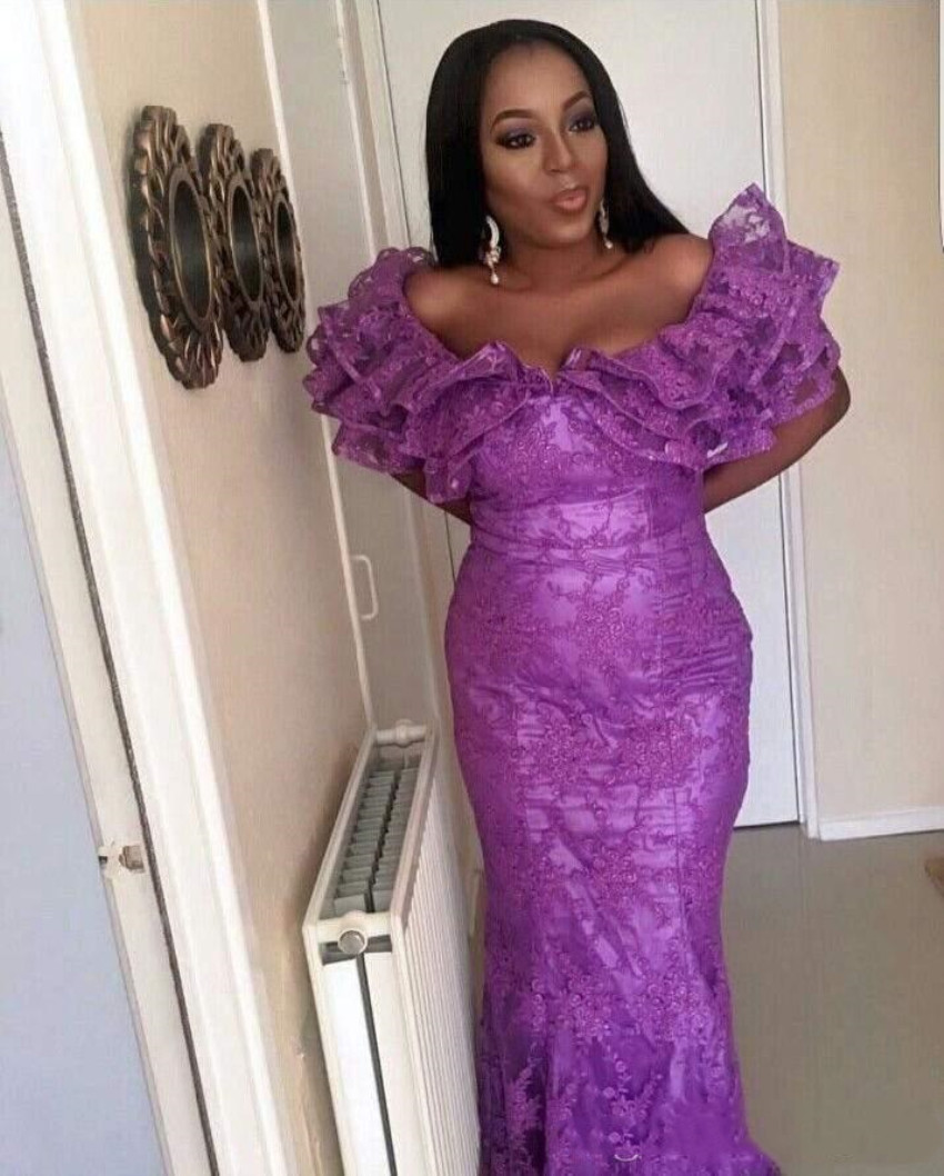 Evening Dress Elegant Purple Off-Shoulder Mermaid Lace Floor-length Sexy Gowns Formal Party Dress Evening Gowns