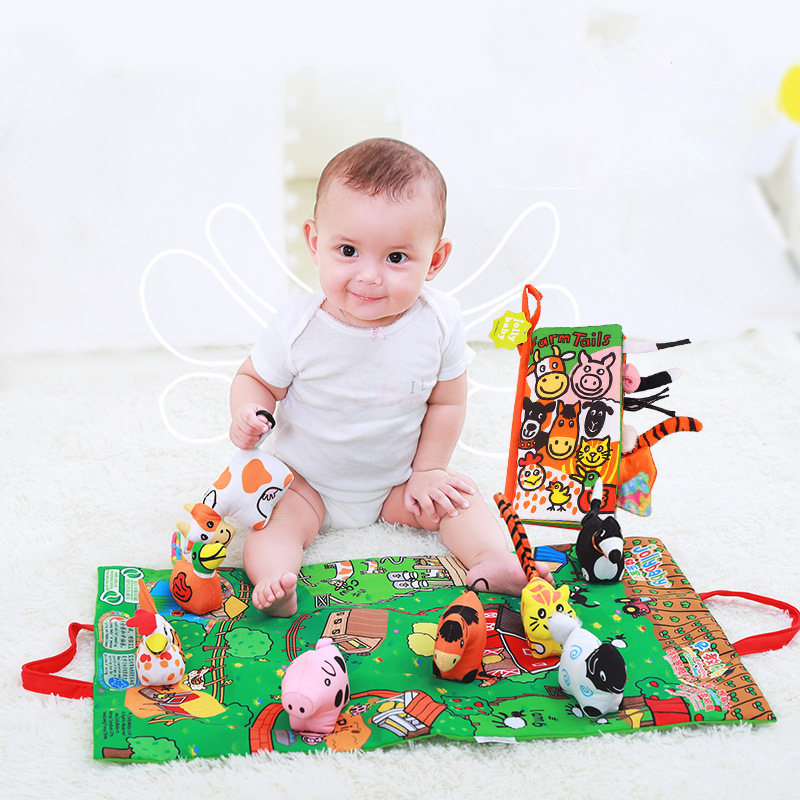 Kids Baby Soft Activity Unfolding Cloth Animal Tails Books Infant Early Educational Toys For Children 0-12 Month Gift WJ407