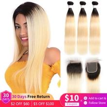 1B 613 pasma prostych włosów z zamknięciem 4x4 brazylijski Remy wiązki ludzkich włosów z zamknięcie koronki Ombre Platinum blond EUPHORIA