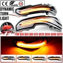 Par de señal de giro fluctuante luz LED ala lateral espejo retrovisor dinámica del indicador intermitente para Infiniti Q50 Q60 Q70 QX30 15 19