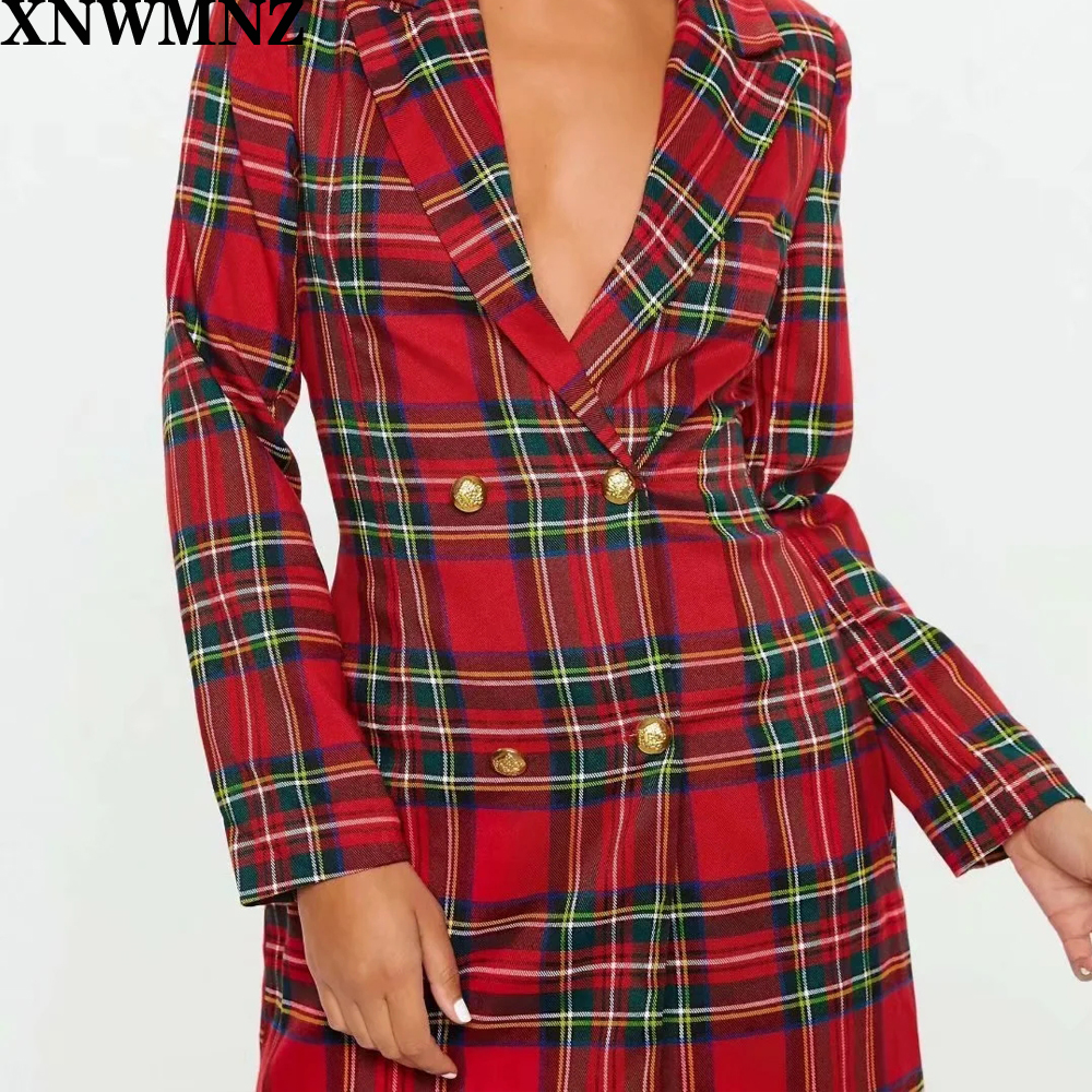 XNWMNZ Za 2020 Autumn Winter Suit For Women Plaid Blazer Long Sleeve Double Breasted Vintage Female Retro Suit Jackets