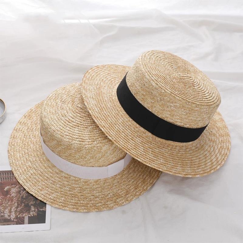Simple Summer Women Wide Brim Straw Hat Fashion Chapeau Paille Lady Sun Hats Boater Wheat Panama Beach Hats Chapeu Feminino Caps