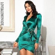 사랑 & 레모네이드 섹시한 녹색 깊은 v 목 골드 쥬얼리 탄성 반사 소재 Bodycon 파티 미니 드레스 LM81989