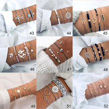 Mixed Styles Women Bracelets & Bangles Sets Female Wrist Jewelry Lightning Initials Circel Starfish Compass Elephant Simple Gift(China)