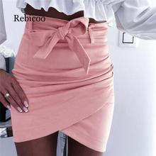 Asymmetrical belt suede skirt ladies skirt skirt 2019 new sexy street high waist bandage skirt недорого