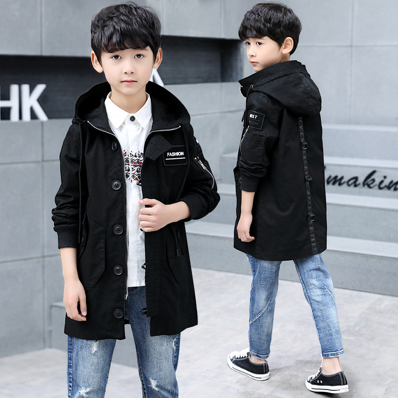 Boys Kids Tops Double-breasted Belted Trench Coats Spring Jacket Windbreaker