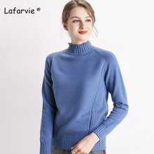 Lafarvie Turtleneck Knitted Sweater Women Tops Autumn Winter Full Thick Pullover Female Warm Loose Knitting Jumper 6 Colors S-XL