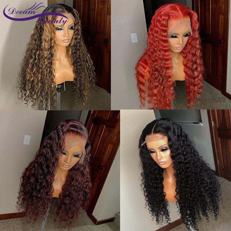 Curly 13x4 Lace Front Human Hair Wigs Highlight Honey Blonde Red Burgundy Color Lace Frontal Wig Pre Plucked Brazilian Remy Wig