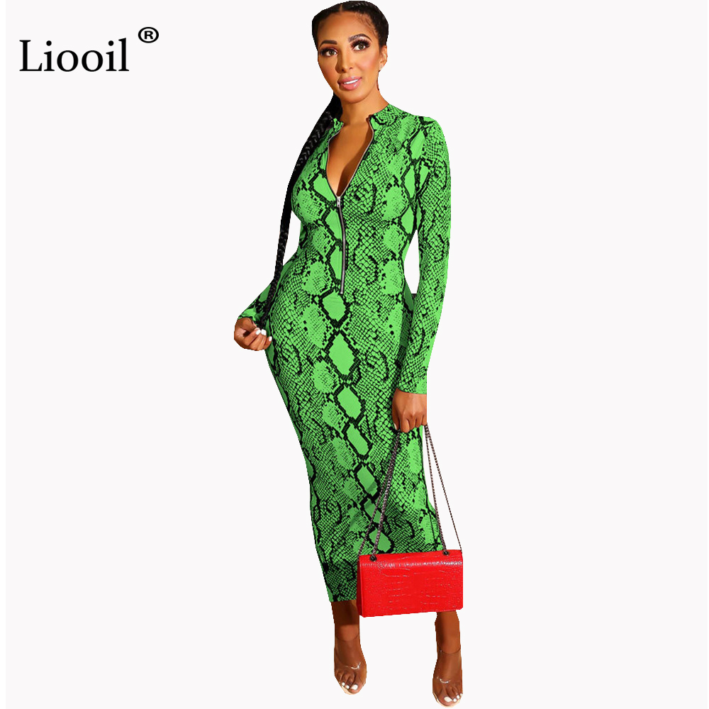 Liooil Snake Print Sexy Long Maxi Dress Autumn Winter Long Sleeve Zip Up Wear On Both Sides Tight Dresses Woman Party Night Club