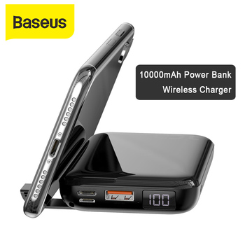 Baseus 10000mAh Power Bank 10W Qi Wireless Charger 18W Cable Wired Fast Charging PD QC3.0 Powerbank Portable Charger For iPhone