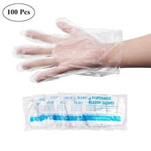 البلاستيك الشفاف قفازات يمكن التخلص منها 100 قطعة لمرة واحدة قفازات الطبخ الحمام المنزلية قفازات صحية لتنظيف الطبخ