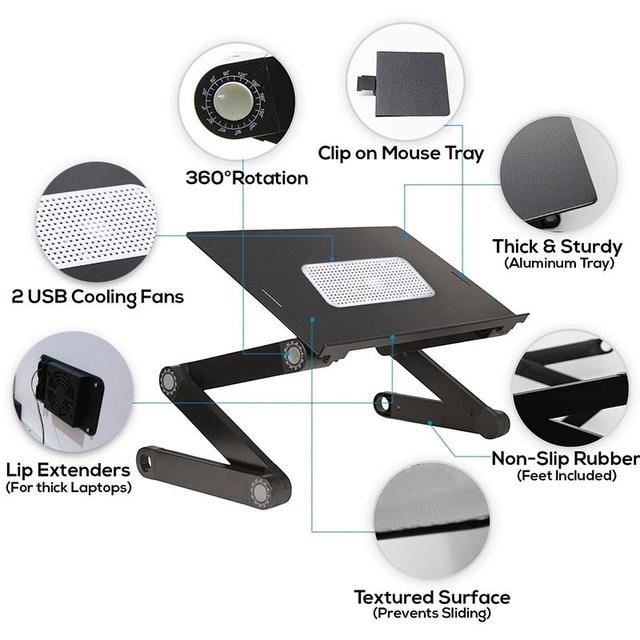 Adjustable Computer Table Aluminum Alloy Laptop Desk 360 Degree Laptop Stand Foldable Computer Table Stand Tray Notebook Stand 4