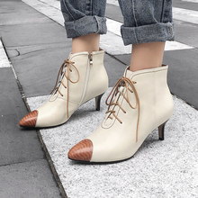 Plus Size 34-43 New Women Ankle Spring/Autumn Boots Genuine Leather Pointed Toe Lace Up Thin High Heels Shoes Sexy Fashion Boots