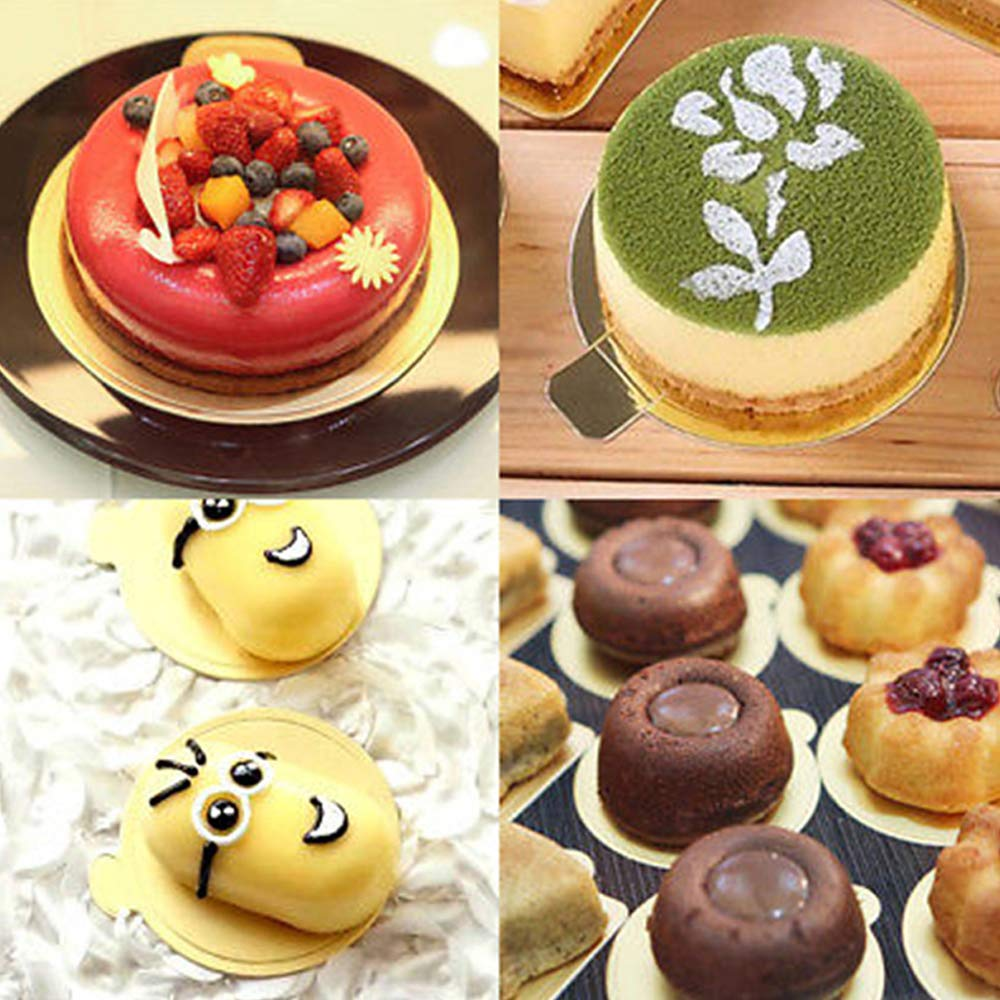 100x 90mm Round Mousse Cake Boards Paper Cupcake Dessert Displays Tray Gold w//