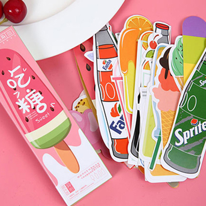 30 pcs/lot Cute Ice Cream Soda Paper Bookmark Kawaii Film Bookmarks Book Holder Message Card School Supplies Gift Stationery image