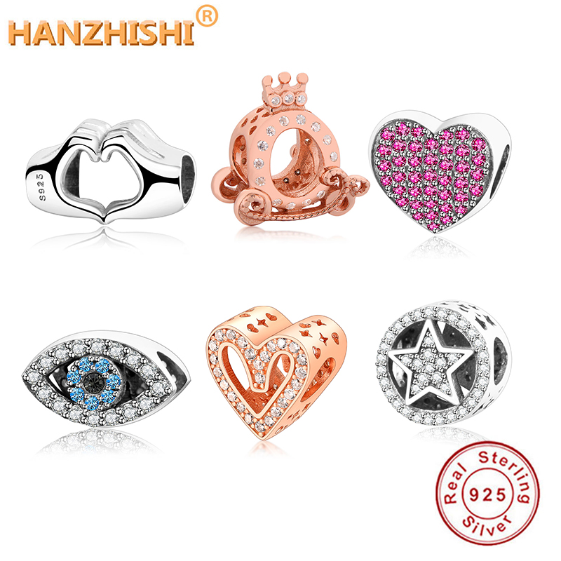 2020 Winter Collection DIY Charm Fit Original European Charm Bracelet 925 Sterling Silver Hand Heart/Eye/Stars/Flower Beads Gift(China)
