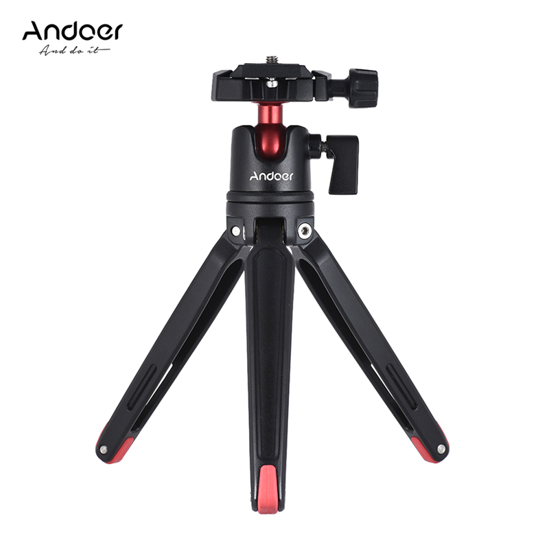Andoer Mini Handheld Travel Tabletop Tripod Stand With Ball Head For Canon Nikon Sony DSLR Mirrorless For Smartphone For GoPro 5