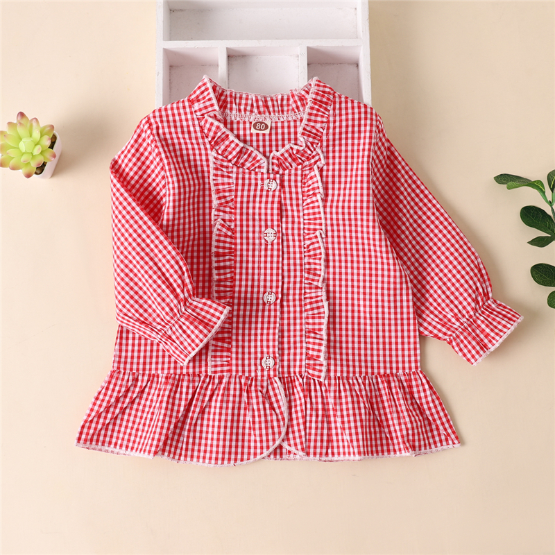 New Toddler Kids Girls Red Plaid Blouse, Round Neck Buttons Long Sleeve Ruffle Trim Babydoll Tops Outfits Autumn/Spring Clothes