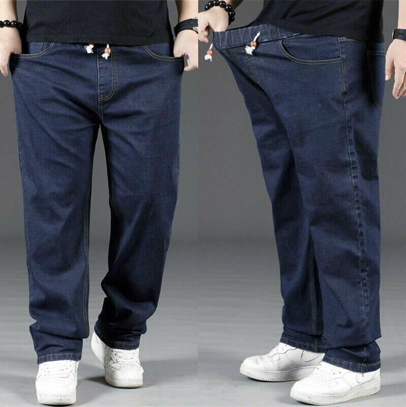 Men Plus Size Jeans Loose Denim Pants Stretch Baggy Straight Leg Trouser Classic Light Blue Dark Blue Jeans 923-425