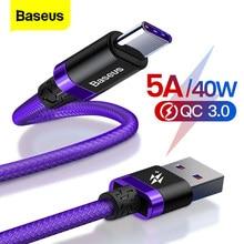 Baseus 5A usbタイプcケーブルメイト 30 P30 P20 プロliteの携帯電話usbc急速充電器コードUSB-Cタイプcケーブル