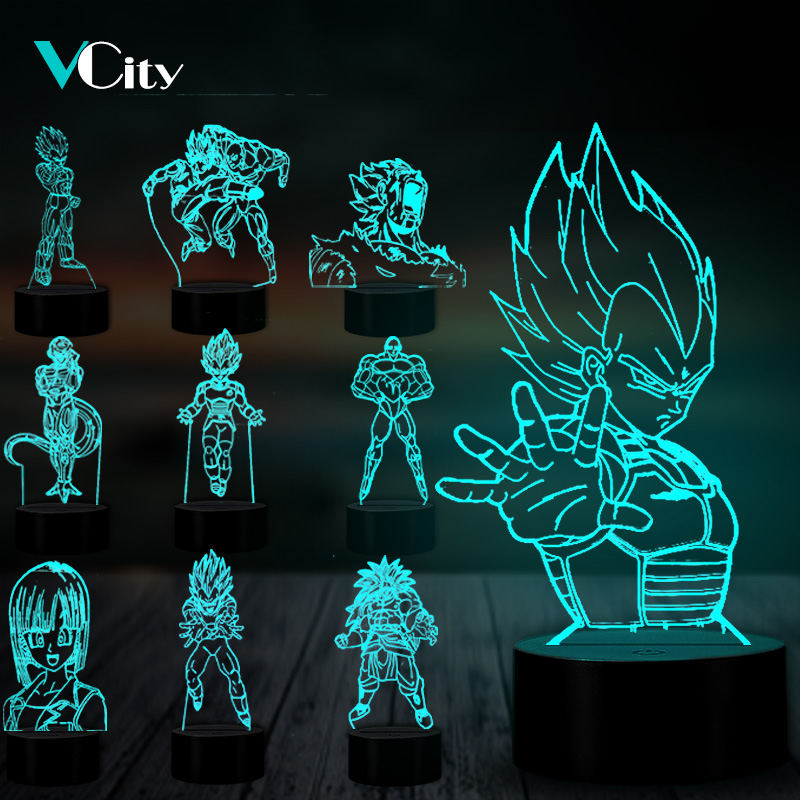 VCity Dragon Ball Series 3D Nightlight Vegeta Jillian Bulma Cartoon Figure LED Lamp Gifts For Kids Boys Fans Atmosphere Lighting