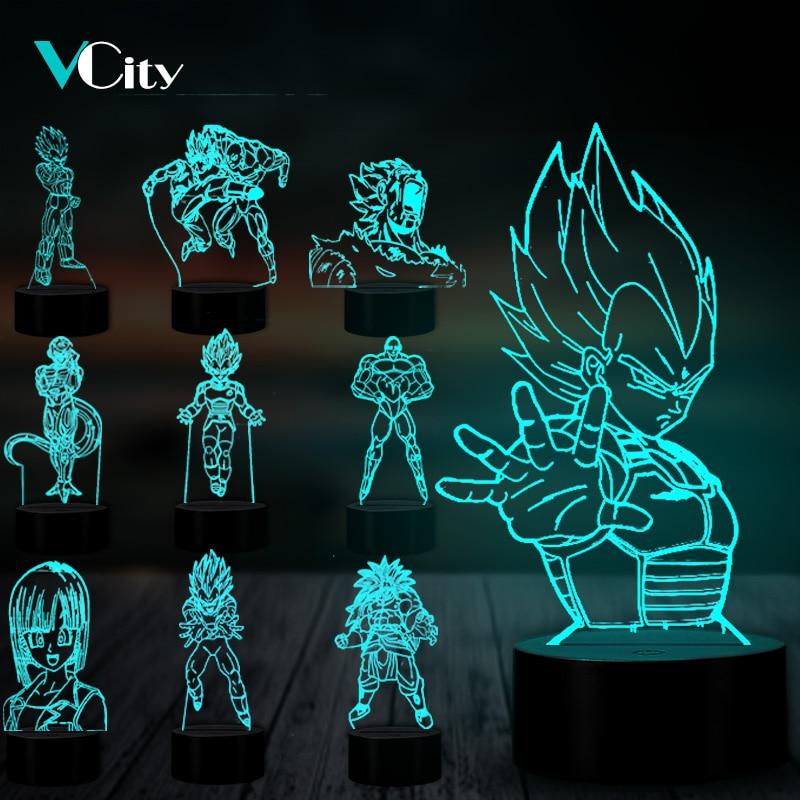 VCity Dragon Ball Series 3D Nightlight Vegeta Jillian Bulma Cartoon Figure LED Lamp Gifts For Kids Boys Fans Atmosphere Lighting