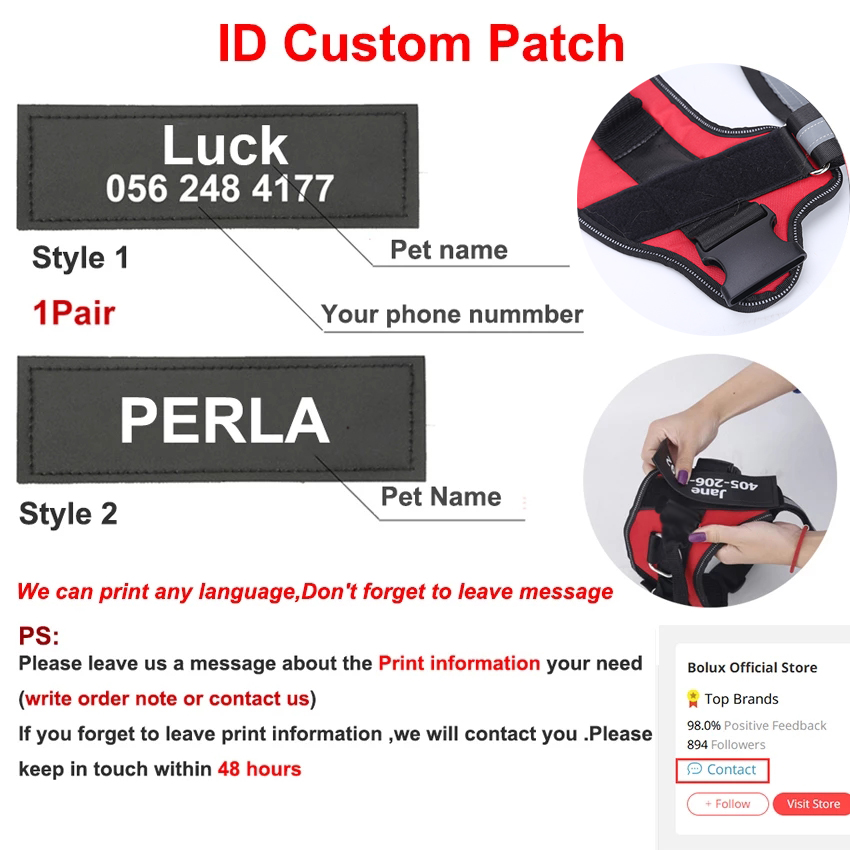 Personalized Dog Harness NO PULL Reflective Breathable Adjustable Pet Harness For Small large Dog Harness Vest With Custom patch