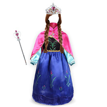 Girls Anna elsa Princess Dress Kids Costume Set with Crown Gloves Wig Snow Queen Children Birthday Halloween Party Cosplay Dress muababy girl anna dress up clothes with cape children long sleeve floral applique snow queen cosplay costume for halloween party