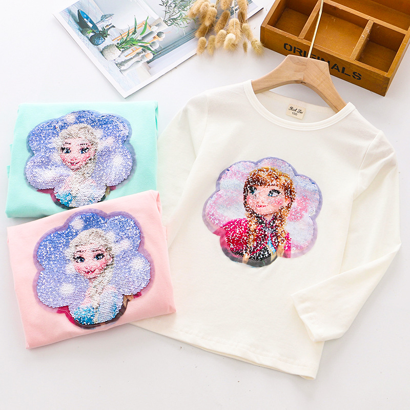 Fashion Change Color Sequins Discoloration Princess Elsa Anna Cotton Autumn Spring Kids T Shirts for Children Girl T Shirt Tops image