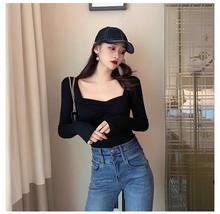 Vintage Ladies Clothing Autumn Long Sleeve Square Neck Top Boned Corset Top Casual Sexy Shirts for Women(China)