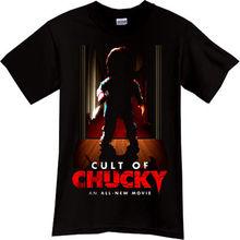 цена на CULT OF CHUCKY Child Play Horror Thriller Movie Black T-Shirt TShirt Tee  Cartoon t shirt men Unisex New Fashion tshirt