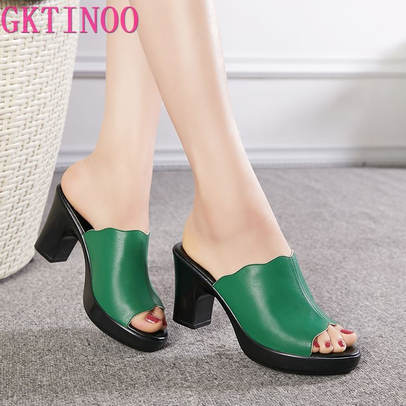 GKTINOO Fashion Women Sandals Comfortable Genuine Leather Thick Heels Women's Casual Shoes Summer Platform Sandal Plus Size 42