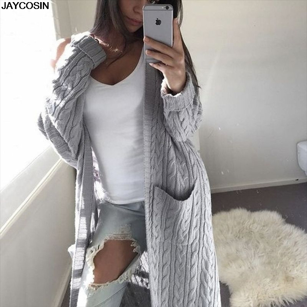 JAYCOSIN New Autumn Winte Women Cardigan Long Sleeve Hooded Solid Knitted 2019 Female Keep Warm Sweater Open Stitch Coats 9822