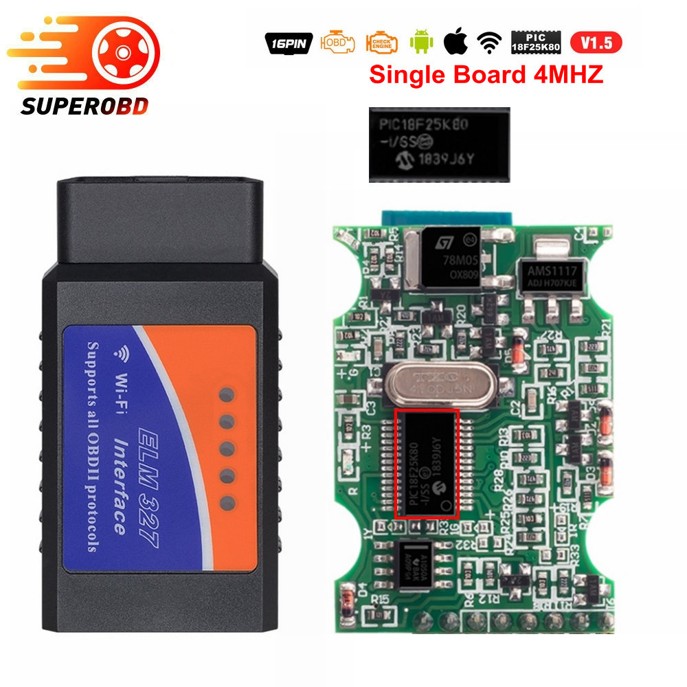 OBD2 ELM327 V1.5 Bluetooth/WIFI Car Diagnostic Tool ELM 327 OBD Code Reader Chip PIC18F25K80 Work Android/IOS/Windows 12V Car