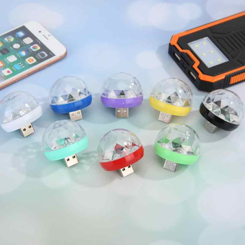 Portable Mini USB Lampu Pesta Ponsel Lampu LED Magic Bola Kristal Efek Warna-warni Kontrol Suara Anak-anak Lampu Malam
