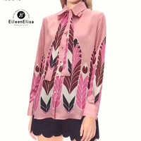 Rosa Bluse Frauen Langarm Druck Hemd 2019 Marke Frauen Tops Casual