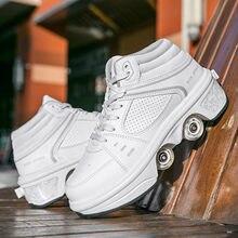 Tênis de rolo de deformação sapatos de skate parkour sapatos de rolo tênis com quatro rodas tênis para crianças unissex