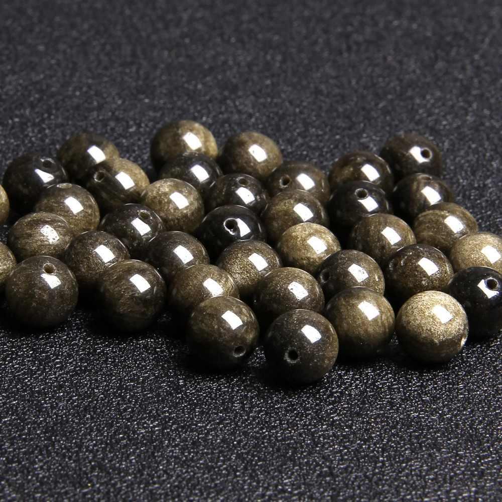 Natural Silver Warna Emas Hitam Obsidian Batu Beads untuk Perhiasan Membuat Aksesoris Longgar Pengatur Jarak Batu Permata Manik-manik Pria Wanita Hadiah