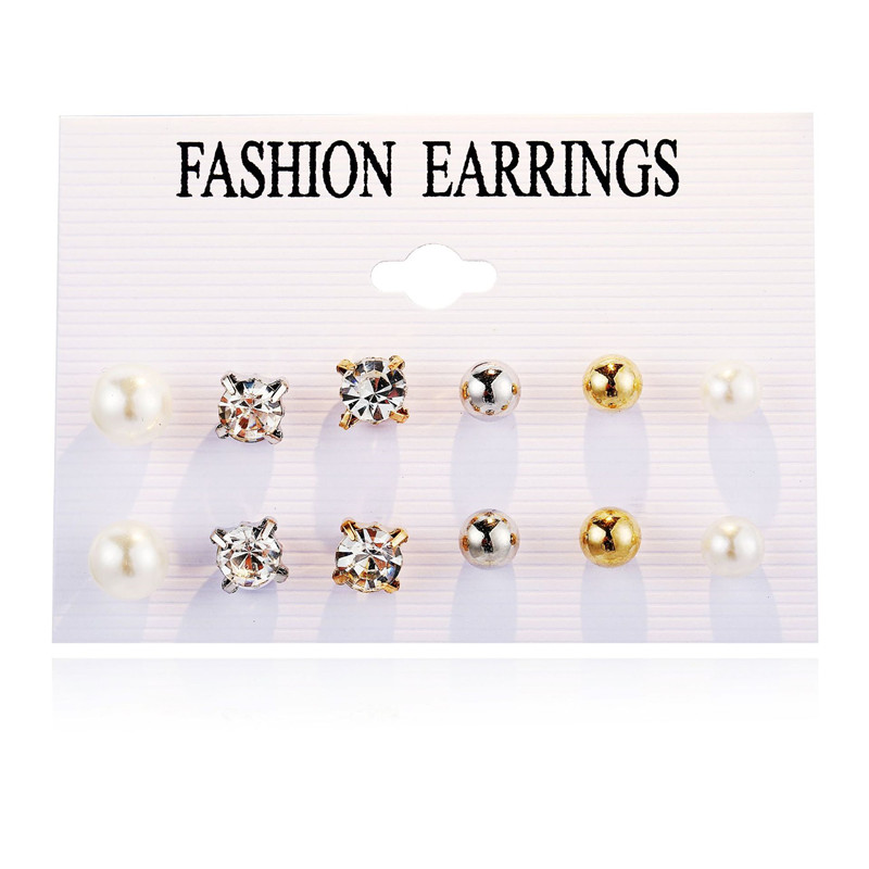 New Gold Crystal Simulated Pearl Earrings Set Ball For Women Stud Earrings Sets Wedding Jewelry Party Brincos