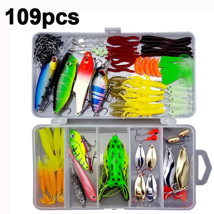 33/56/104/106/109/122/142/166/280pcs Fishing Lures Set Spoon Hooks Minnow Pilers Hard Lure Kit In Box Fishing Gear Accessories