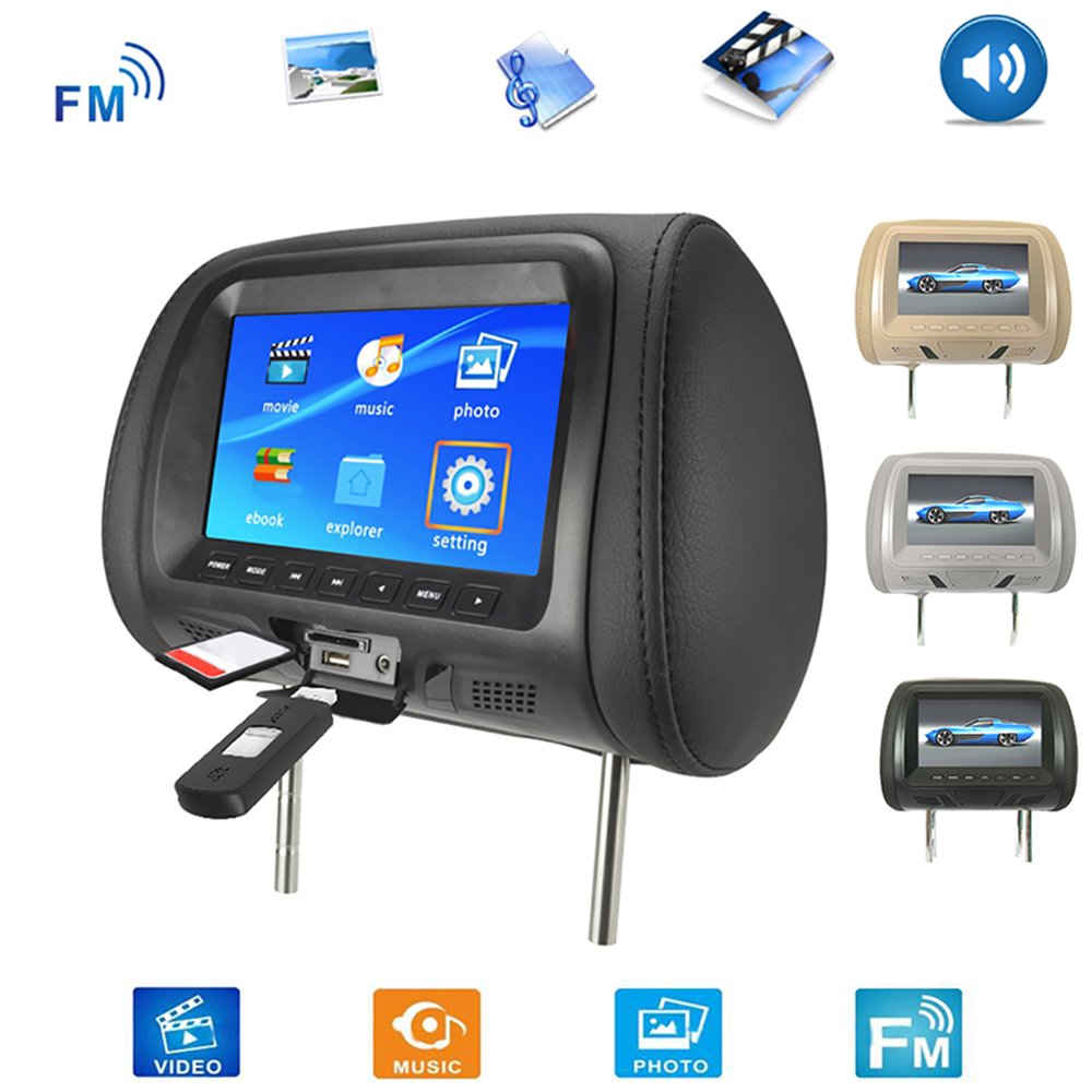 Universal 7 Inch Car Headrest Monitor Rear Seat Entertainment Multimedia MP3 MP4 FM Video Muisc TF Card Player New hot boutique