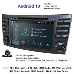 Image 1 - 2din IPS Android10 Auto Radio GPS Player Für Mercedes Benz E Klasse W211 E280 E200 E220 E300 E350 E240 e270 CLS W219 CLK W209 WiFi