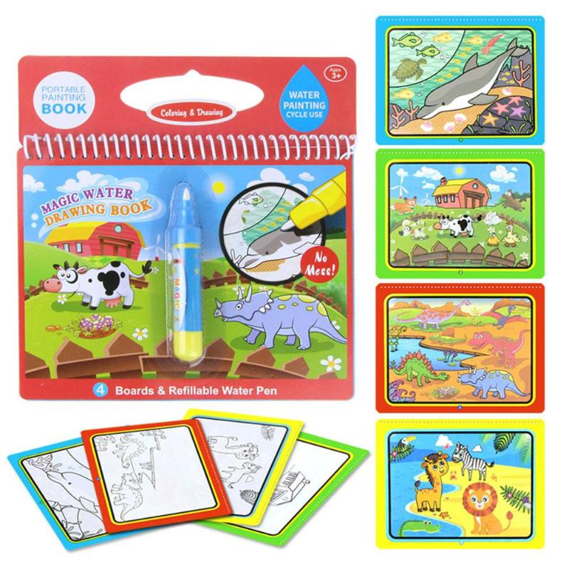 Reusable Magic Water Painting Book Kids Coloring Doodle Drawing Board Toys For Kids Education Toys Birthday Xmas Gift With pen