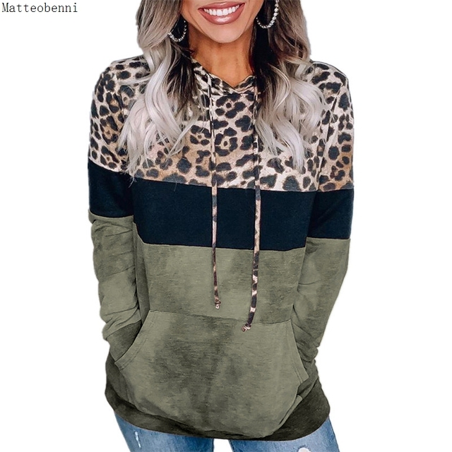 Leopard Print Hoodie Sweatshirts  Long Sleeve Oversize Pullover Loose Pocket  5