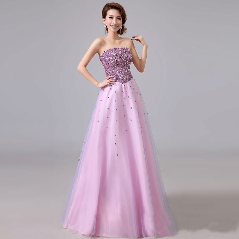 2017 Autumn And Winter New Style Violet Princess Dress Evening Gown Dress For Toast Sequin Tube Top Costume Slim Fit Large