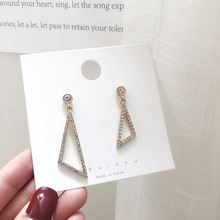 Exaggerated triangle asymmetrical earrings female simple personality design ear temperament net red wild jewelry